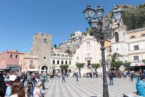 View of buildings around the main square in Taormina