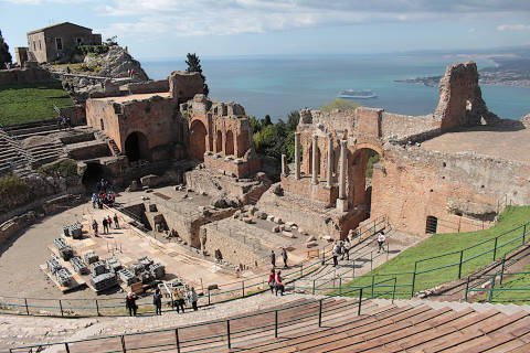 View of the Greek theatre in Taormina