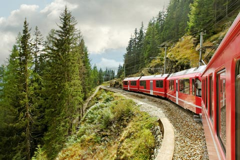 red train to Saint Moritz