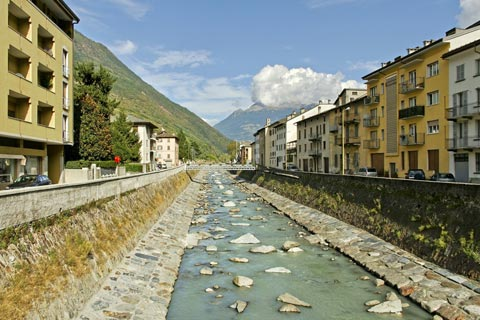 small river in centre of Tirano