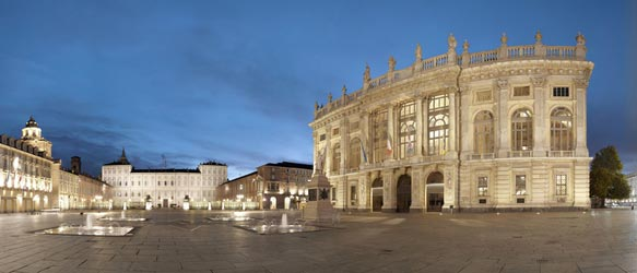 wide view of Piazza Castello in central Turin