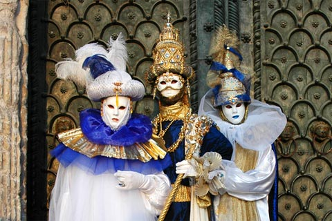 Typical characters in disguise at Venice carnival