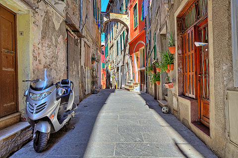 traditional alleyway in historic Ventimiglia