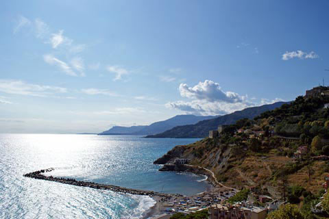 view along the coast at Ventimiglia