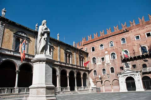 Piazza Dante with Medieval palaces and statue of Dante Alighieri